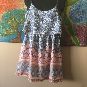 ABERCROMBIE AND FITCH BLUE AND PINK BOHO SUNDRESS